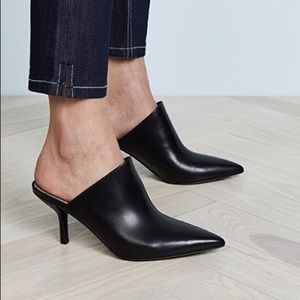 DVF Mikaila Pointy Toe Mules Black Leather Heels